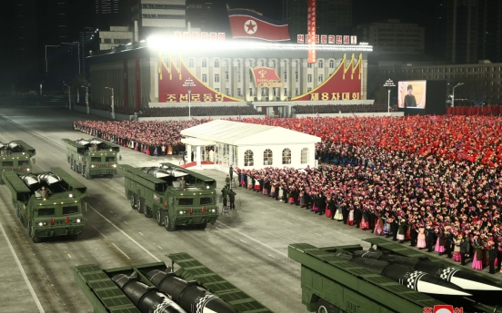 N. Korea holds military parade, showcases new SLBM