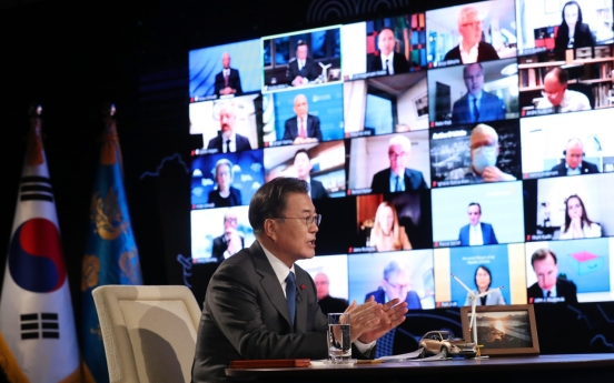Moon briefs global leaders on S. Korea's inclusive policy amid pandemic