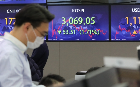 Seoul stocks dip nearly 2% on massive foreign selling