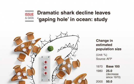 [Graphic News] Dramatic shark decline leaves 'gaping hole' in ocean: study