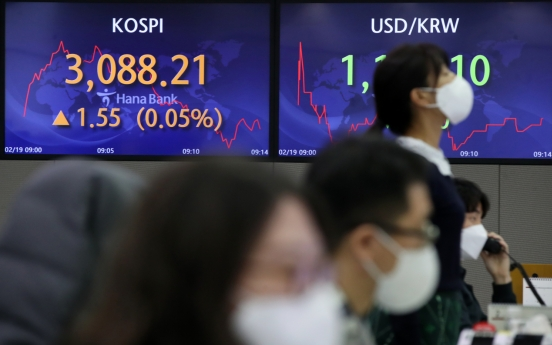 Seoul stocks open nearly flat on foreign, institutional selling