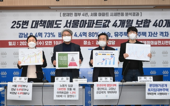 Apartment prices in Seoul have kept rising despite 25 rounds of countermeasures by Moon govt. : civic group