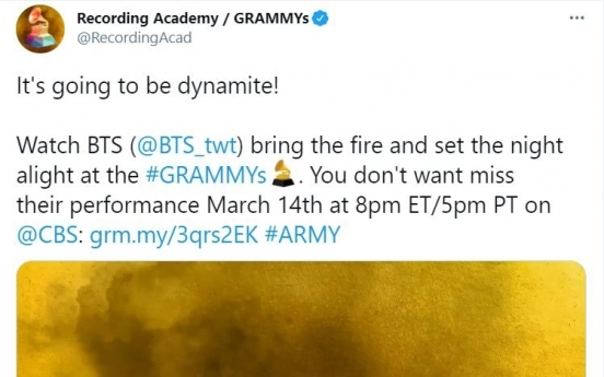 BTS to become 1st Korean nominee to perform at upcoming Grammy Awards
