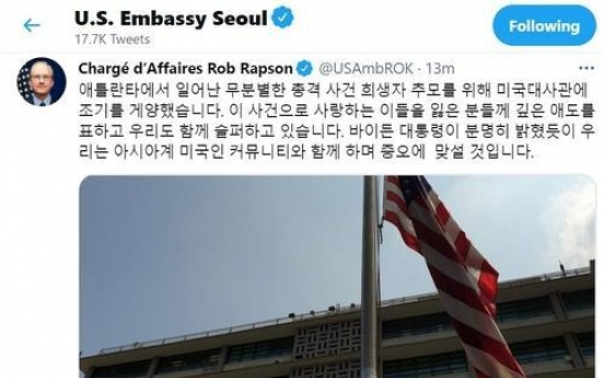 US Embassy flies flag at half-staff to honor victims of Atlanta shootings