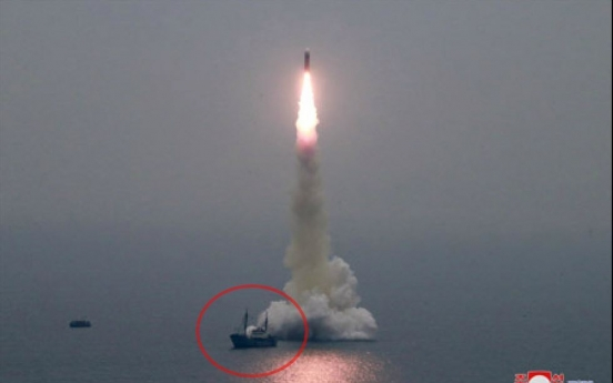 [Newsmaker] N. Korea continues to work on submersible missile test barge at Nampo: report