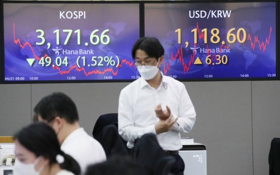 Seoul stocks snap 7-day winning streak on valuation pressure