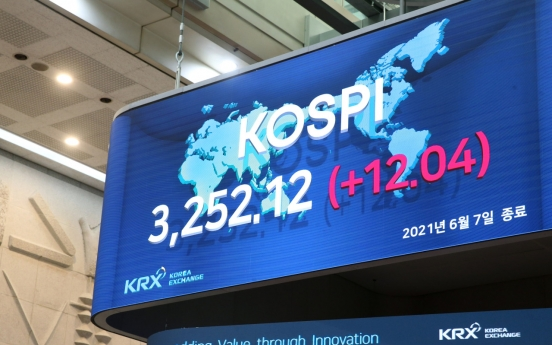 Kospi notches record high closing above 3,250