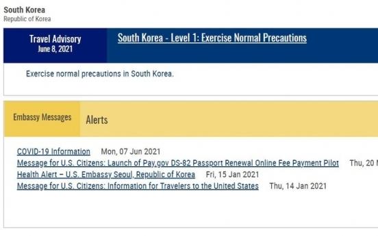 [Newsmaker] US lowers travel advisory for S. Korea to lowest Level 1