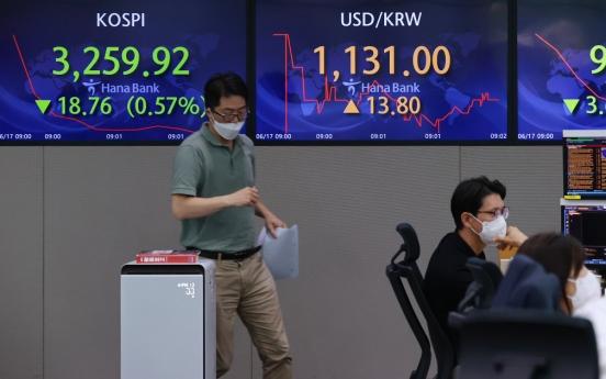 Seoul stocks open lower on Fed's hawkish comment