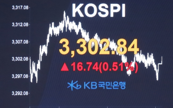Kospi hits 3,300 points on US infrastructure plan