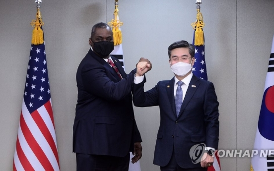 Defense chiefs of S. Korea, US reaffirm commitment to alliance, combined defense posture