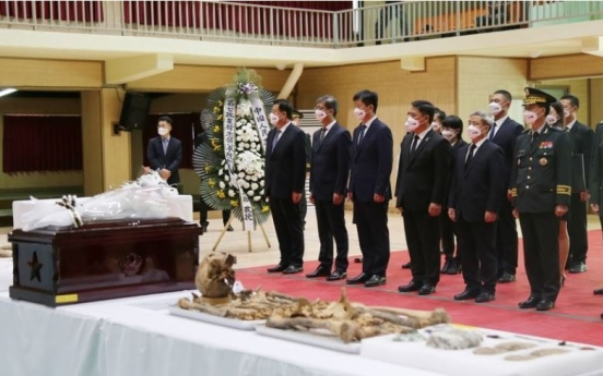 S. Korea, China hold ceremony to casket 109 sets of Chinese troop remains