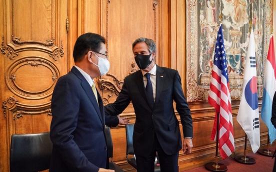 FM Chung stresses end-of-war declaration in talks with Blinken