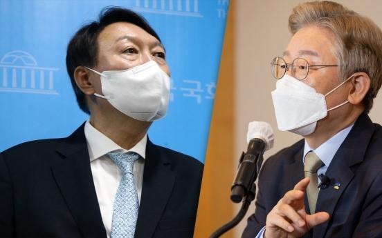 Gyeonggi Gov. Lee sees lead over ex-chief prosecutor Yoon narrow in presidential race: survey