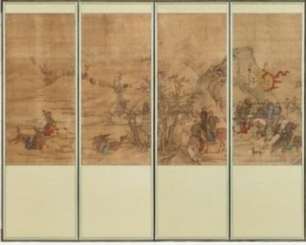 Joseon-era folding screen with hunting scenes goes on display