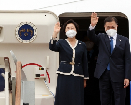 Moon heads to Britain for G-7 summit