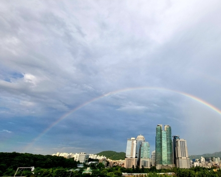 [Photo News] Double rainbow shines bright in Seoul