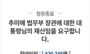 '추미애 재신임' 국민청원 42만명 마감