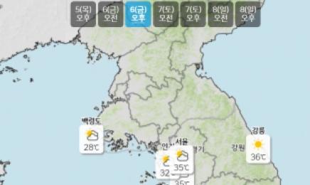 내일 체감온도 35도 이상 폭염…내륙 곳곳 소나기
