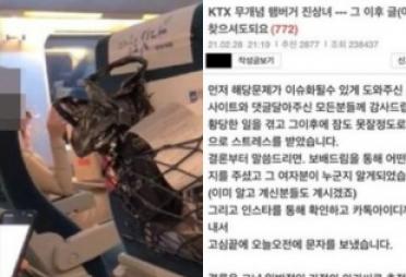 """""""우리 아빠가 누군지 아냐"""" KTX 햄버거 진상女 사과"""