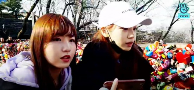 [V Report Plus] IZ*ONE's Chae-won and Hitomi livestream trip to N Seoul Tower
