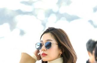 """[POP영상]""""단발 여신""""..백진희, 겨울햇살 바람이 만든 출국길 화보"""