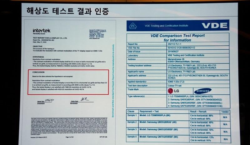 IFA 2019] LG says Samsung's 8K TV fails internationally