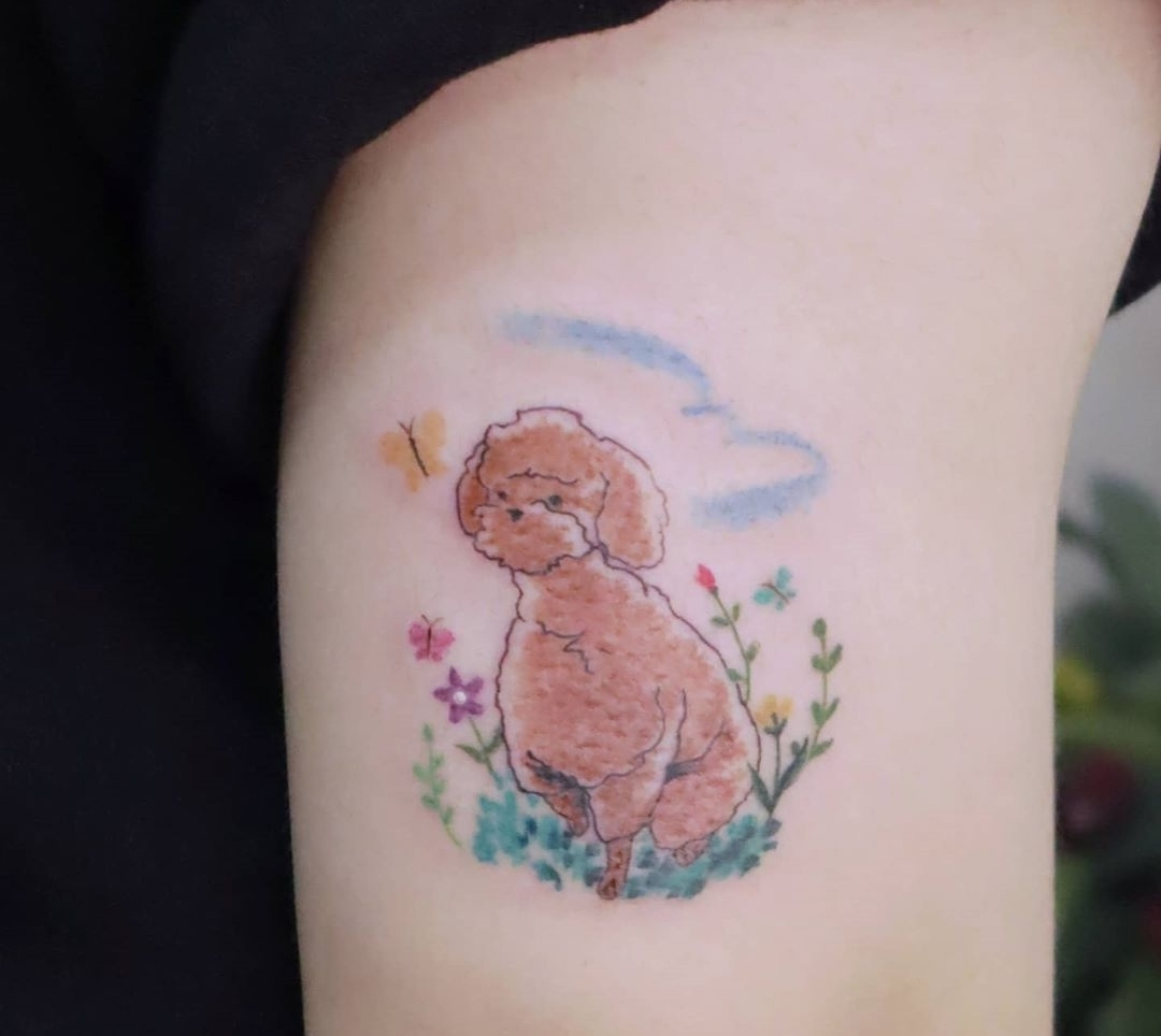 Poodle tattoo (Courtesy of tattooist, Vitchin)