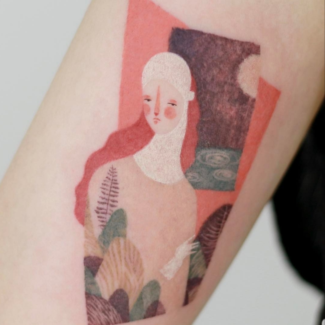 Tattoo based on an illustration by artist Willian Santiago (Courtesy of tattooist, Doy)