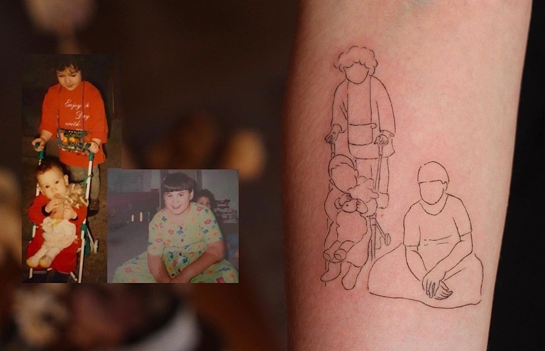 Tattoo based on family photos (Courtesy of tattooist, Kim Jin-hwan)