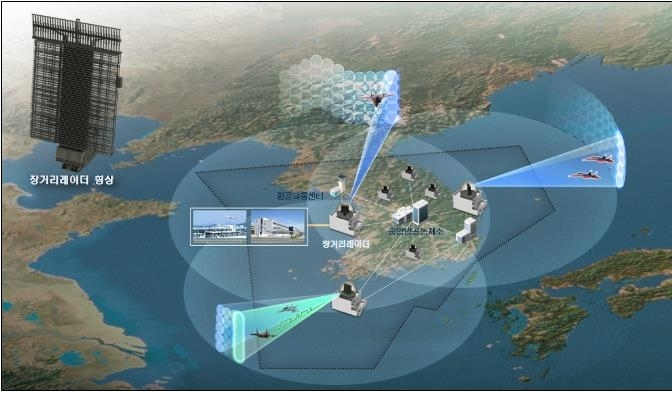 This image, provided by the arms procurement agency on Monday, shows an artist's rendition of a long-range radar system to be developed by LIG Nex1 Co. (Arms Procurement Agency)