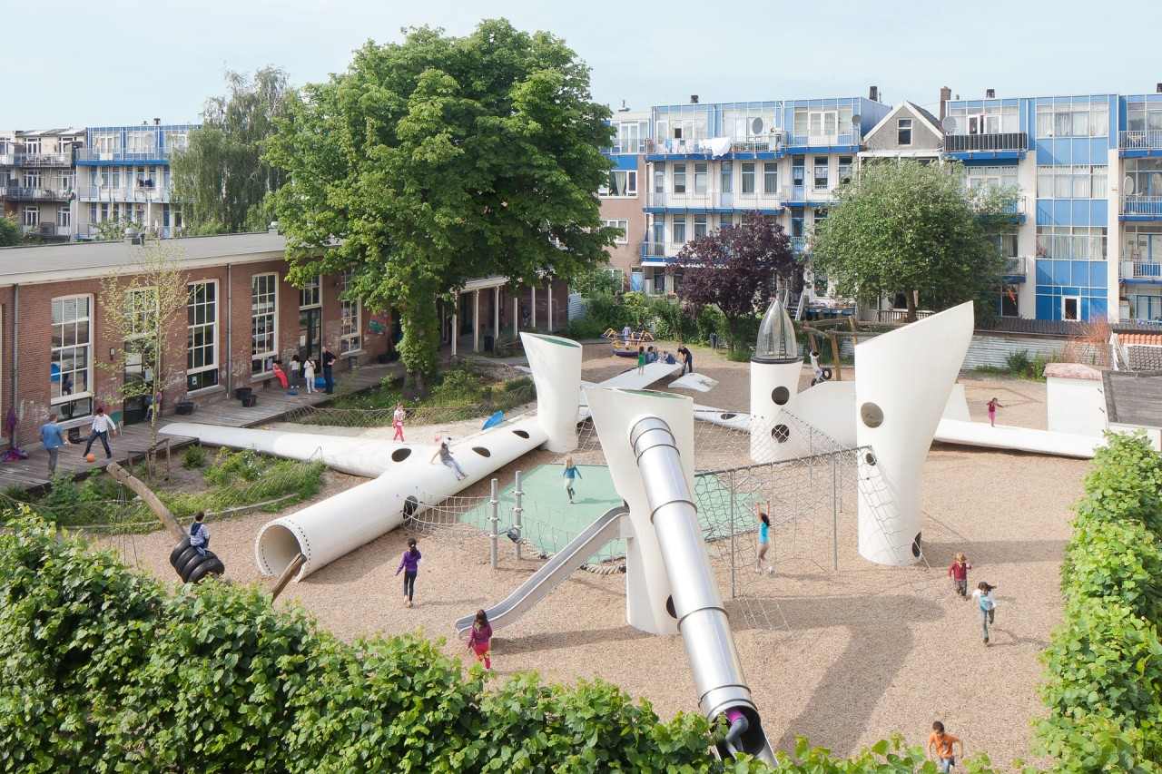 The playground called Wikado was created from parts of discarded wind turbines.  (Denis Guzzo)