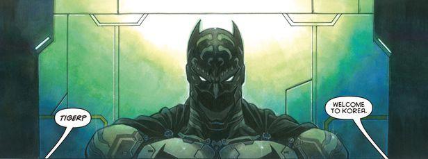 Batman, dibujado por el dibujante coreano Park Jae Kwang.  El teatro está ubicado en Jongno-gu, Seúl.  (DC comics)