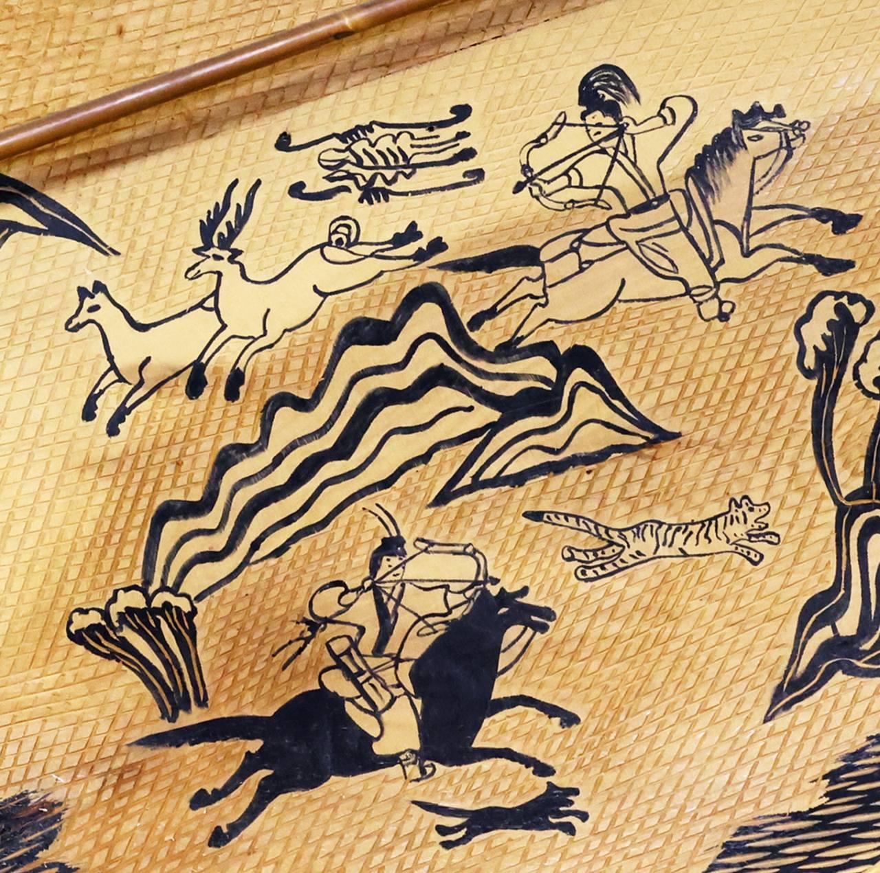 고구려 사수 금 코토 쿠 의한 고대 고구려 고분 회화의 복제에서 한국의 활 고구려를 사용하여 사냥을합니다. © 2021 강 현 원