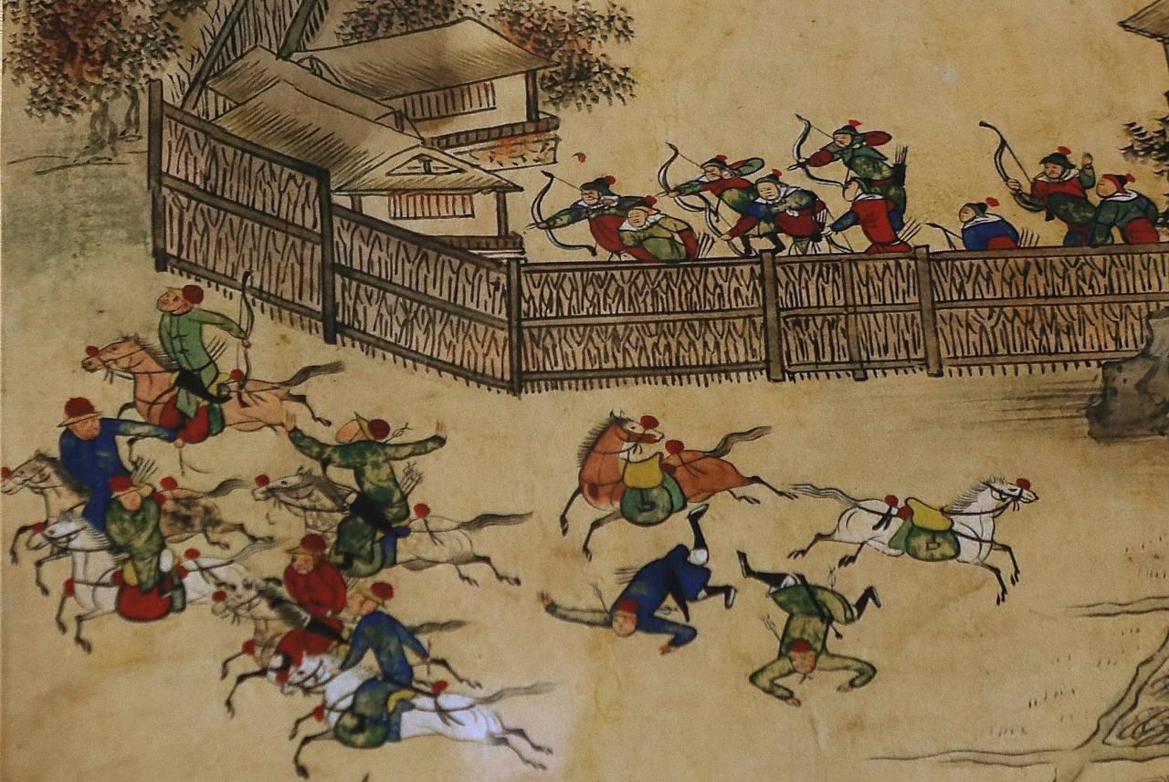 학군의 활은 한국의 북단에있는 두만강에있는 한국의 녹 투 엔드 델타에서 열린이 1587 년의 「나무 바리케이드 전투