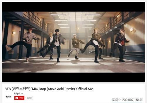 BTS' 'MIC Drop' remix surpasses 200 mln YouTube Views