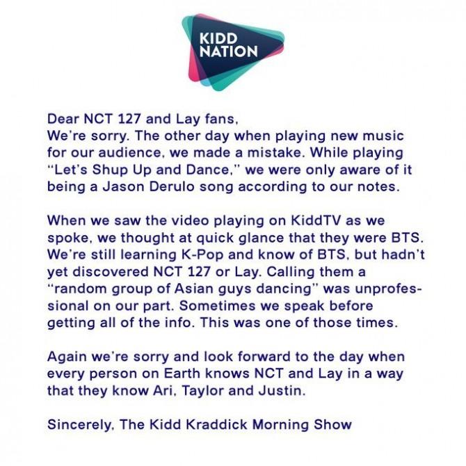 US radio show's smug apology for calling NCT 127 'random